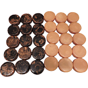 Complete Set of Original 1930 Marbleized Bakelite Checkers/Backgammon Pieces - 30 Total