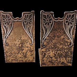 Sterling Silver on Bronze Art Nouveau Gold Dore' Bookends - Heintz Art Metal Shop