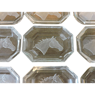 Set of 12 Horse Head Crystal Intaglio Open Salts or Pin Trays