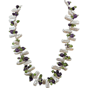 Handmade Pearl, Amethyst, Peridot and Sterling Silver Necklace 18""
