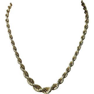 "Stunning 14K Yellow Gold Graduated Rope Chain 17"" Necklace - 1AR - Unoaerre - 19 grams"