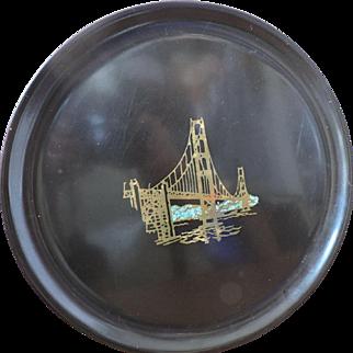 Vintage Mid Century Couroc San Francisco Gold Gate Bridge Tray