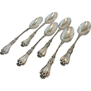 Set of 6 Sterling Silver VIOLET Teaspoons by Whiting Manufacturing Co - 1905