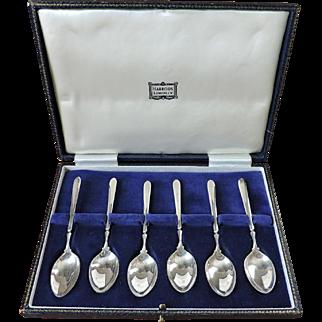 Set of 6 Sterling Silver Demitasse Spoons, Collins & Cook for Harrods, Birmingham 1965