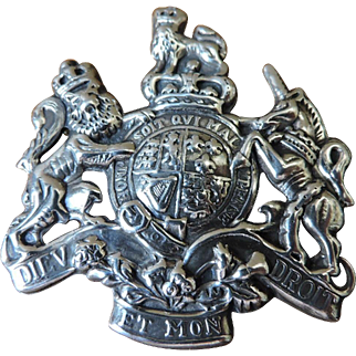 Vintage Sterling Silver English Coat of Arms Brooch Lapel Pin