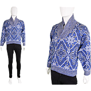 Vintage 1970s Givenchy Monsieur Mens Tribal Print Sweater 70s Blue Icelandic Shawl Collar Jumper