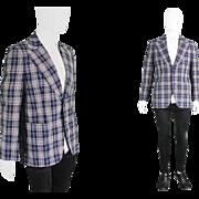 Vintage 1970s Checked Plaid Mens Blazer Jacket 70s Wide Lapels Preppy Eccentric Polyester ...