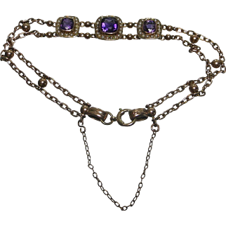 Early 20th Century tests as 9 karat rose gold amethyst and seed pearl bracelet
