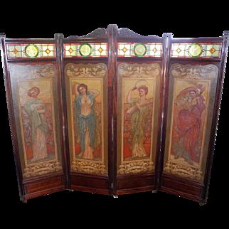 Magnificent Antique mahogany Art Nouveau Room Divider Screen C1900