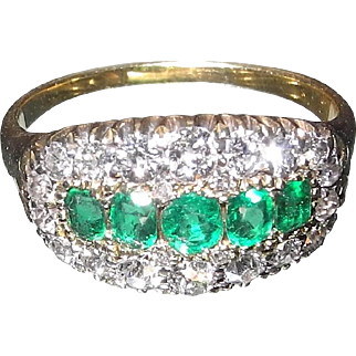 Mid 20th Century emerald and diamond cluster statement ring tests as 18 karat gold