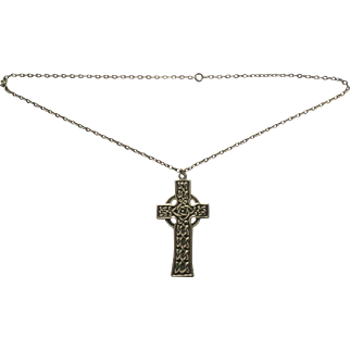 Alexander Ritchie Iona silver Celtic cross and chain C1907