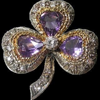 Early 20th century amethyst and diamond shamrock brooch