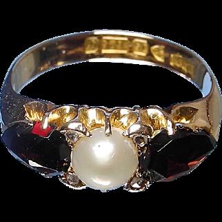 Victorian almondine garnet and pearl ring 15 karat gold