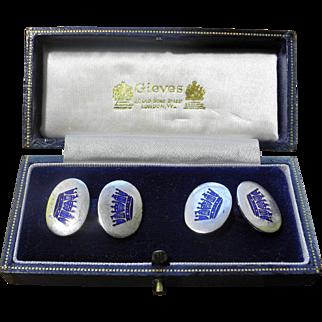 Mid 20th century crown motif silver cufflinks from Gieves jewellers to H.M. Queen Elizabeth II
