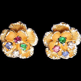 20th Century 18 karat gold diamond, sapphire and ruby flower earrings