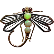 Mid 20th Century opal and ruby dragonfly form brooch set in silver and tests as 18 karat gold