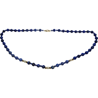 20th Century Lapis lazuli and pearl necklace