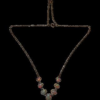 Stunning early 20th century iridescent opal necklace 18 karat gold