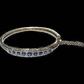 20th Century sapphire and diamond bangle tests as 9 karat gold