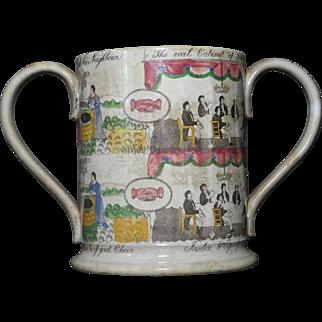 Huge Antique Staffordshire transferware loving cup Masonic interest c. 1840
