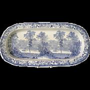 Rare romantic Staffordshire Davenport blue transferware salmon platter C1840