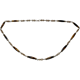 20th Century tigers eye and 9 karat gold rope twist necklace