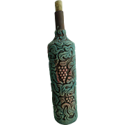 Vintage Handmade Clay Wine Bottle with Lovely Figures Engraved