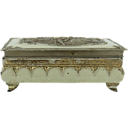 Exquisite Antique Jewelry Box with Chic Figures Engraving