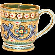 Italian Handmade Deruta Pottery Mug with Precious Metals