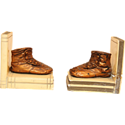 20. Century Bronze Book Stopper Shoes Set