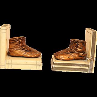 19th. Century Bronze Book Stopper Shoes Set