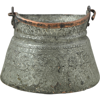 Gorgeous 18th Century Anatolian Hand Wrought Antique Copper Bucket for Yoghurt Preservation