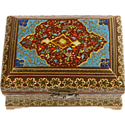 Beautifully Hand Painted Wooden Chest  with Mother of Pearl