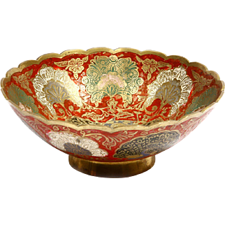 Beautifully Hand Painted Bowl with Copper Engravings