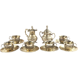 Gorgeous Antique Armenian Hand Made Tea and Coffee set from Old Istanbul