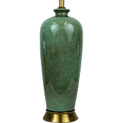Mid Century Green Crackle Glaze Porcelain Table Lamp