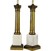 Vintage American Cast Metal and White Marble Table Lamps