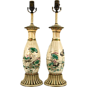 Pair 19th Century Chinese Vases Mounted As Lamps. Decorated With Bamboo And Cranes. Hand Painted