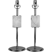 Pair, Italian 1960's Modern Chrome & White Carrera Marble Table Lamps