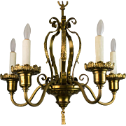 1920's American Five Light Brass Chandelier