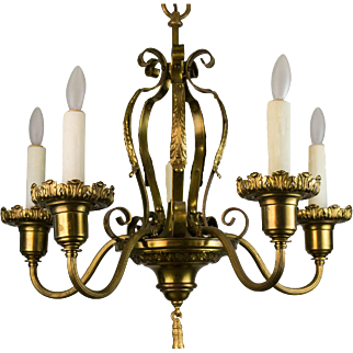 1920's American Five Light Brass Chandelier