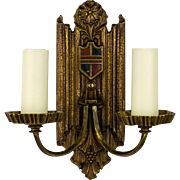 Pair, 1920's American Cast Brass Tudor Two Arm Sconces