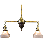 Period American Arts and Crafts Brass Two Light Fixture
