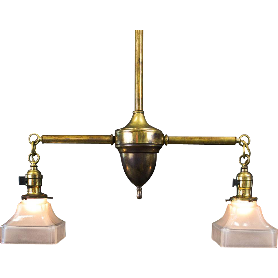 Period american arts and crafts brass two light fixture for Arts and crafts light
