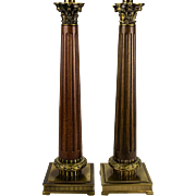 Pair, 70's Neoclassical Fluted Wood Column Table Lamps with Cast Metal Acanthus Capital Detail