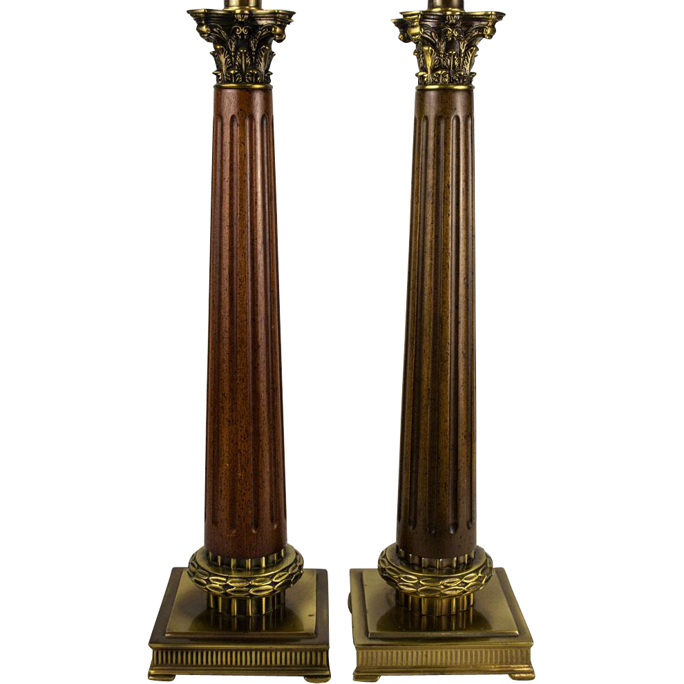 Pair 70 39 s neoclassical fluted wood column table lamps for Table column