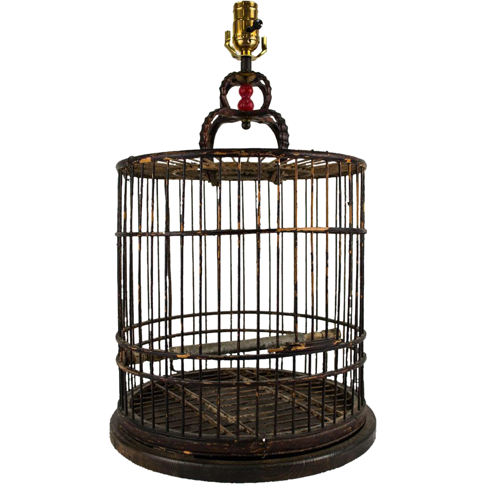 antique wood and cane birdcage table lamp from table m on ruby lane. Black Bedroom Furniture Sets. Home Design Ideas