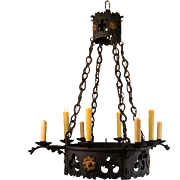 1920's 8 Light French Wrought Iron Gothic Tudor Chandelier