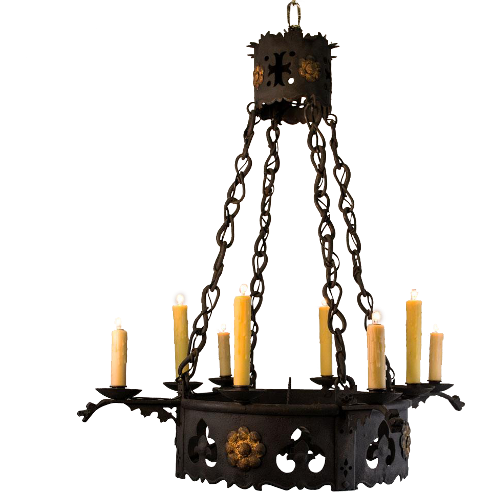 1920u0027s 8 Light French Wrought Iron Gothic Tudor Chandelier  sc 1 st  Ruby Lane & 1920u0027s 8 Light French Wrought Iron Gothic Tudor Chandelier from ... azcodes.com