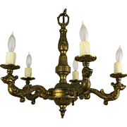 1920's Continental 5 Arm Cast Brass Chandelier with Figural Detailed Arms